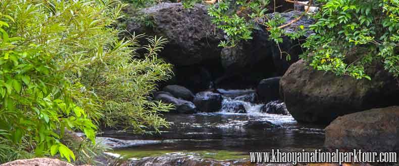 Relaxing swimming at Nangrong Waterfall in Nakorn Nayok Province