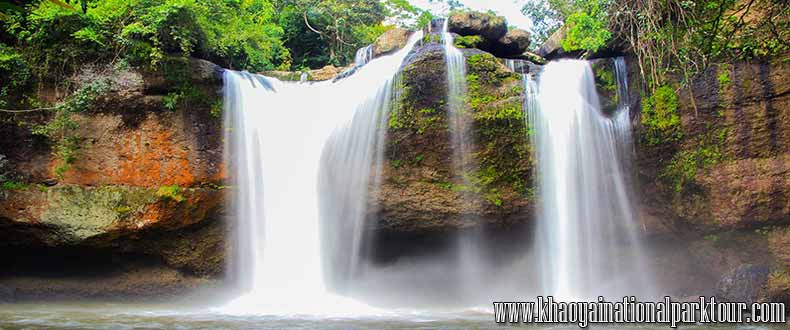 Beautiful Haew Suwat Waterfall was probably the most popular waterfall in Khao Yai National Park,Thailand. ,Khao Yai Tour 2 days 1 Night Tour from Bangkok